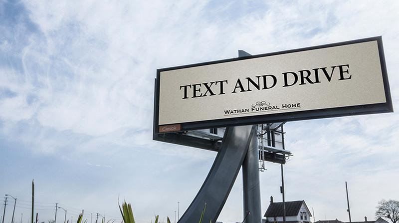 Text and DRIVE - Affichage Pompe Funebre