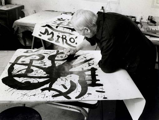 Joan Miró à l'Imprimerie ARTE, photo Clovis Prévost
